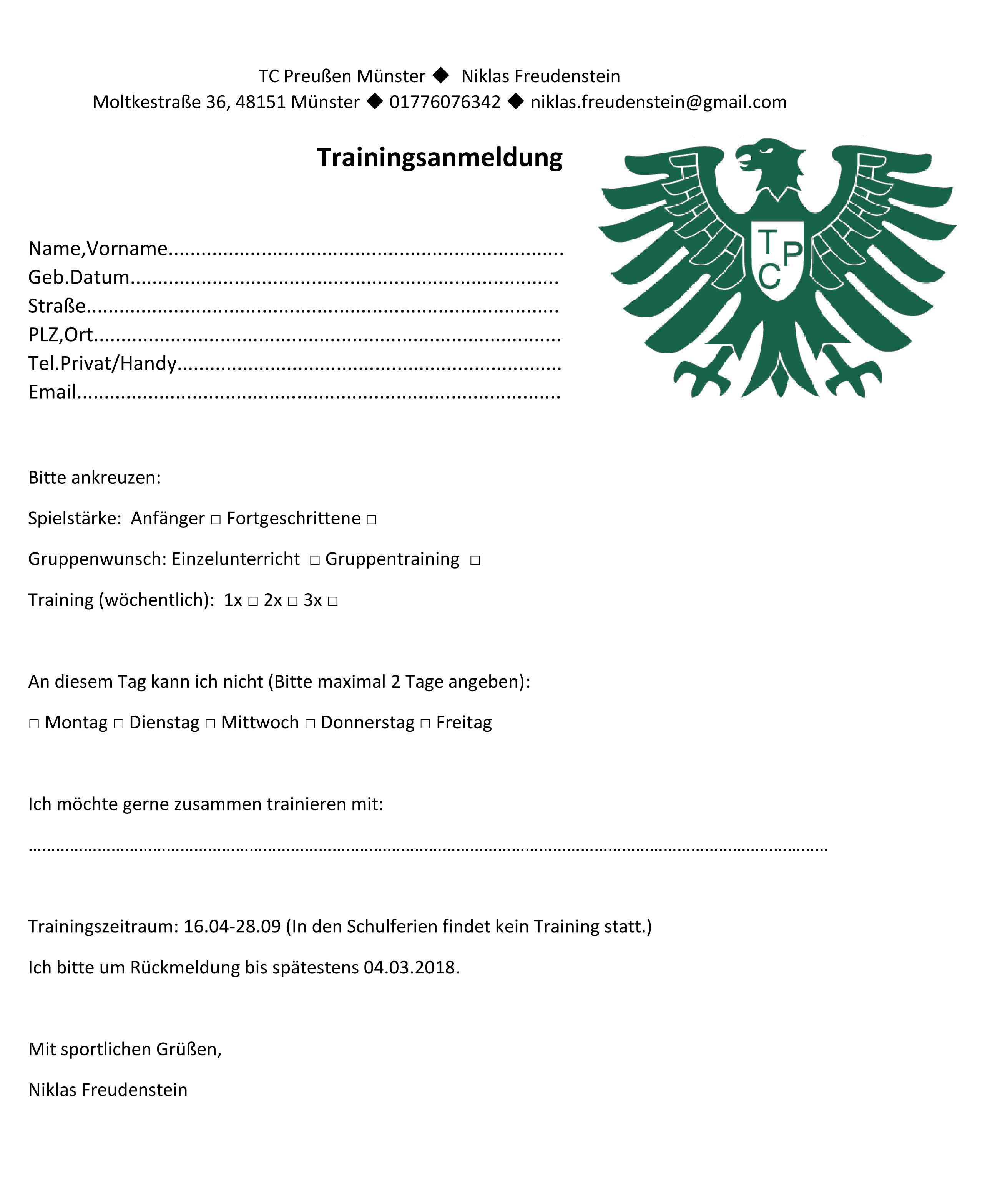 Trainingsanmeldung TC Preußen Münster